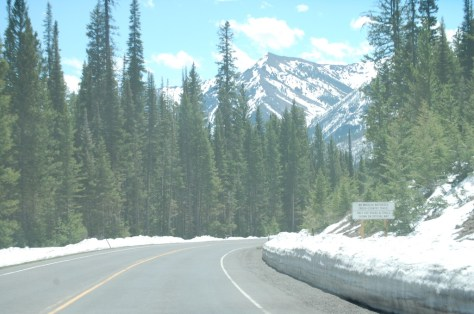 Heading into the mountains.  Snow depth on the side of the road was about two feet at this point