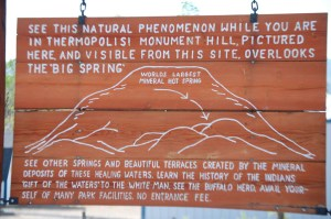 A sign about the Hot Springs of Thermopolis