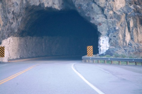 One of tunnels tunnels on US 20 through the Wind River Canyon. These tunnels are hewn stone and must have been a massive undertaking.