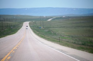 Highway US 20 east of Powder River, WY and heading towards Casper