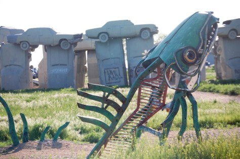 Spawning Salmon with Carhenge in background