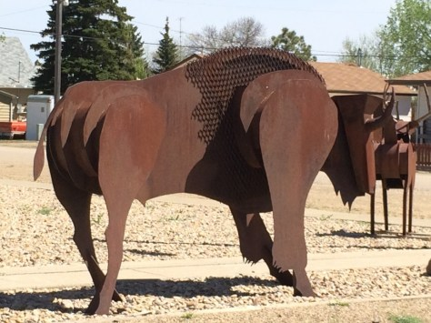 Scrap metal bison in Rudyard, Montana