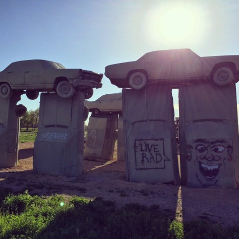 Glowing sun on Carhenge, in Alliance, NE