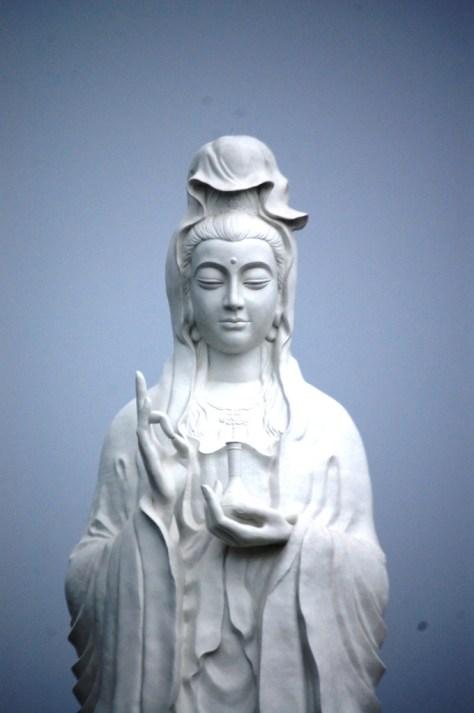 Closeup shot of Quan Am statue in Sugar Land, TX