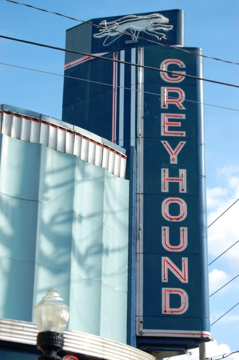 Retro Greyhound Sign in Clarkdale, MS