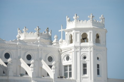 Castle like turrets of Sacred Heart Cathedral