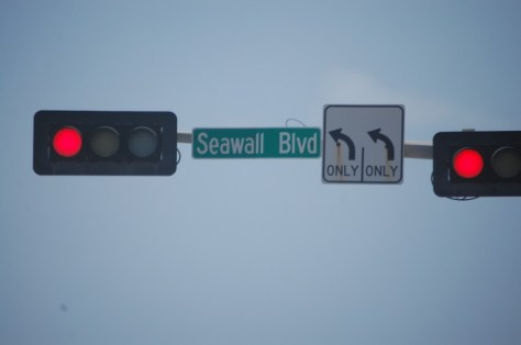 Seawall Blvd., the main beach drive on Galveston