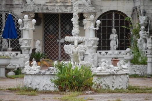 White cement statuary of Pignataro Estate in Santa, Texas