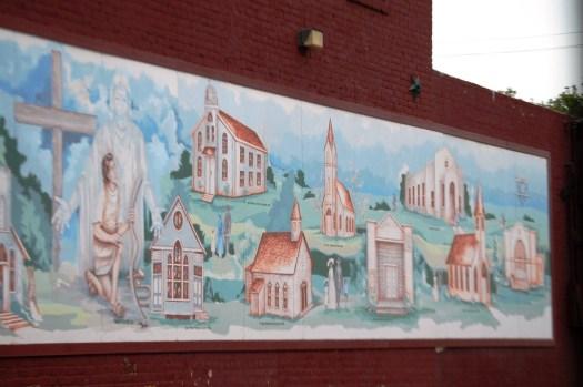 Historical churches of Wharton, TX mural by Dayton Wodrich