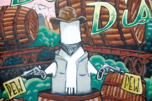 "Dronex ""Cowboy drone"", detail of Lexington Distillery District Mural"