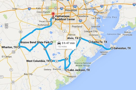 Heart of Texas Route Day 1 - Galveston to Houston the long way