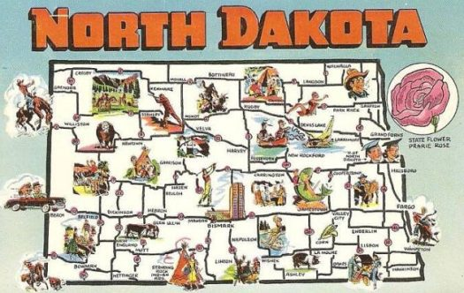 North Dakota Map from 1958