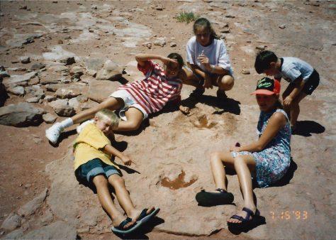 The kids at the Dinosaur tracks in Moenave, AZ near Tuba City (July 1993)