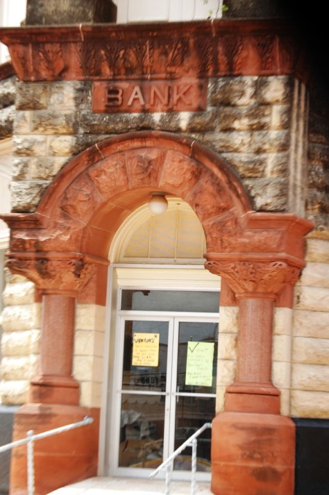 Old Bank Facade in Honey Grove, TX