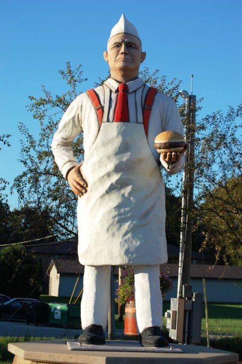 Hamburger Charlie statue in Seymour, WI
