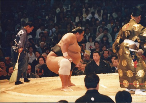 I took this shot of Konishiki from my seat in Fukuoka in 1991.  He made me look small!!