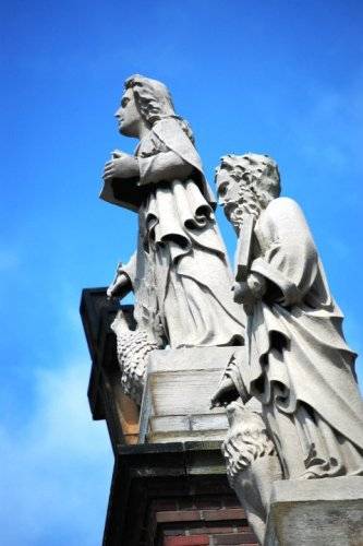Statues on Holy Rosary Church in Little Italy