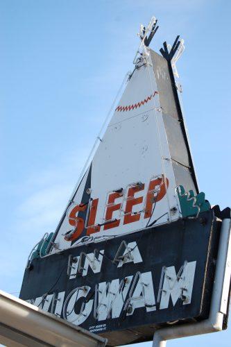 Sleep in a Wigwam neon sign