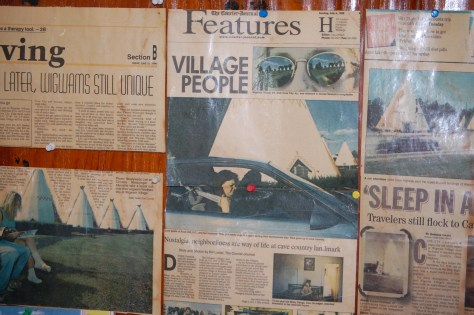 Newspapers about the Wigwam Village on the walls