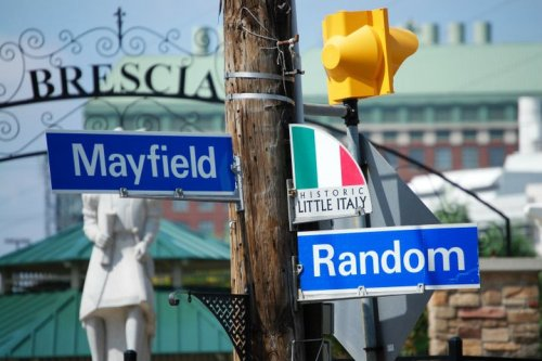 Mayfield Road and Random Road, by the little park in Little Italy