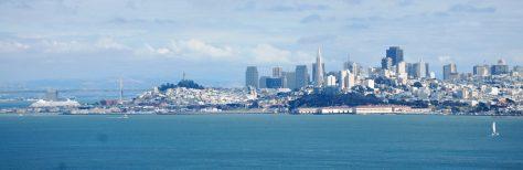 San Francisco as seen from across the Golden Gate Bridge