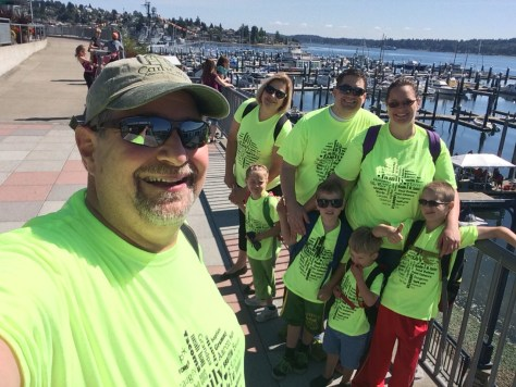 The family getting ready to head to Seattle on Day 1 of our visit.  We made the T-shirts ourselves
