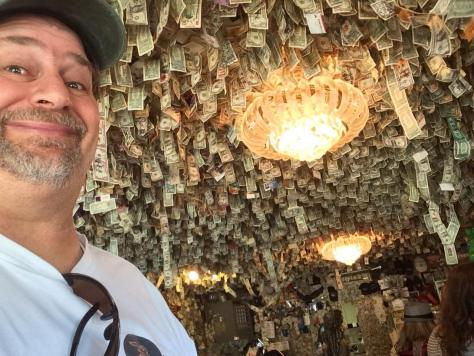Fat Smitty's ceiling covered with money.