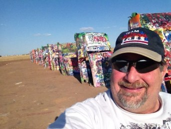 The iconic Route 66 roadside attraction known as Cadillac Ranch in Amarillo