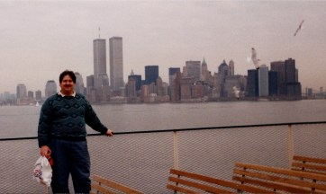 I visited NYC in 1990 and this is a photo with the original World Trade Center Twin Towers.