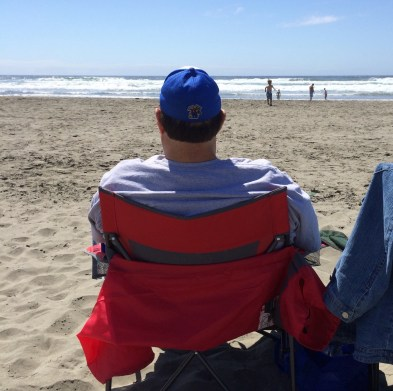 Watching grandkidz play in the Pacific Ocean in Washington State in August 2015