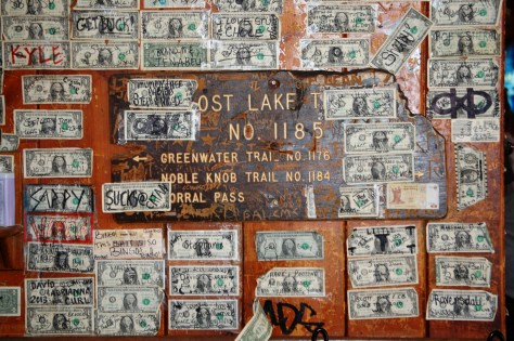 Dollar Bills on the walls at Naches Tavern