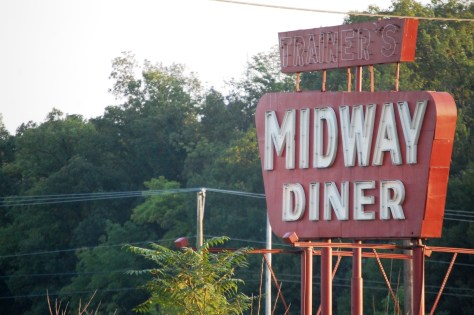 Old Midway Diner sign in bethel, PA