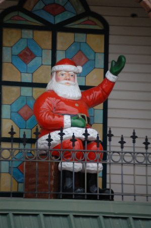This Santa sits in a loft on top of the Holly Tree shop