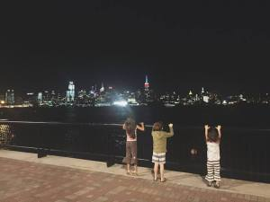 The grandkidz get a view of Manhattan from Frank Sinata Park in Hoboken. (Photo by Marissa Noe)