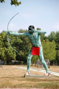 Big Indian shooting an arrow located at Curtis Orchards in Champaign, also home of a nice Yellow Brick Road