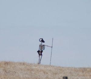 A skeleton keeping guard at Porter's Sculpture Park in Montrose, SD