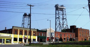 Welland, Ontario with large Canal Lift Bridge towering over the town