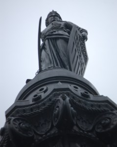 Looking up at the Lady Liberty 125 Feet High