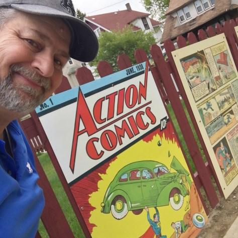 Action Comics blowups at Joe Schuster Home