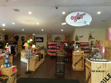 A view of the inside of the A Christmas Story Gift Shop