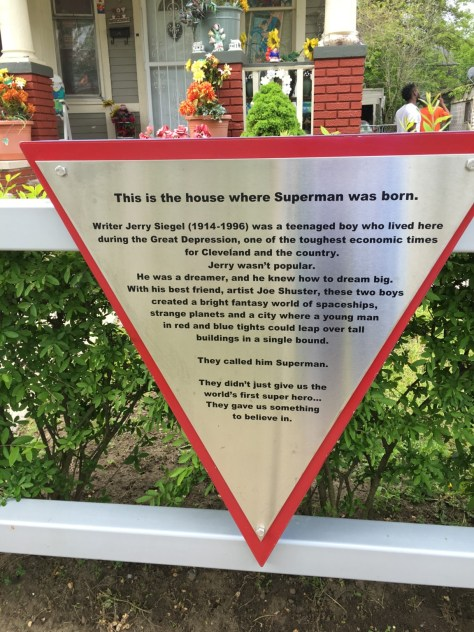A plaque in front of the Jerry Siegel house gives the history of his work.
