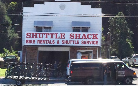 Shuttle Shack - one of many business offering shuttles of bikes to the top of the mountain