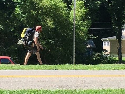 A hiker on the Appalachian Trail walks the trail into Damascus