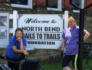 Julianne and Laura at the North Bend Rail Trail HQ in Cairo, WV