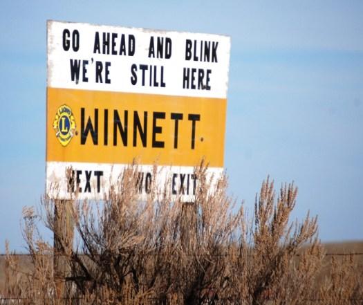 Winnett, MT Welcome Sign