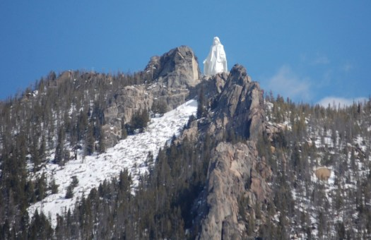 Our Lady of the Rockies statue as seen from the Butte Overlook