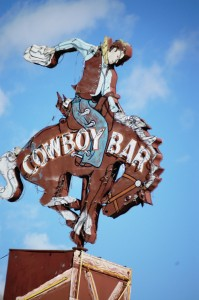 Famous Cowboy Bar Sign in Jackson, WY