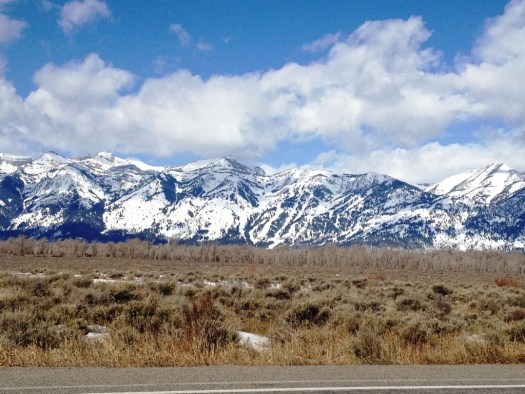 First view of the mountains just north of Jackson on the way to Grand Tetons.