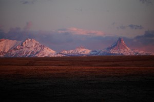 First sunrise on the mountains of Glacier National Park near Babbs, Montana