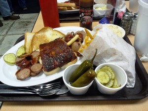 Oklahoma Joe's BBQ with all the fixins including jalapenos!